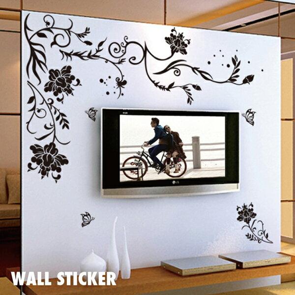 ウォールステッカー/花柄模様・モノトーン フラワー 蝶