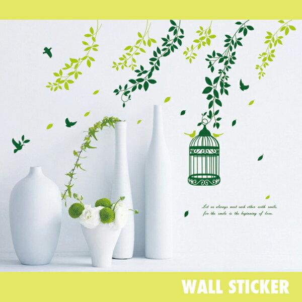 ウォールステッカー/鳥かごとリーフ グリーン バード 鳥 木 葉の写真