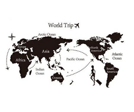 ウォールステッカー/世界地図飛行機 モノトーン マップの写真
