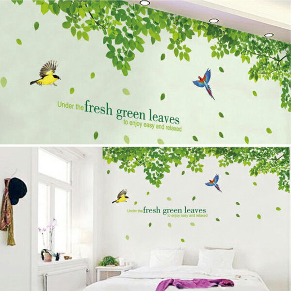 ウォールステッカー/鳥と木々の写真