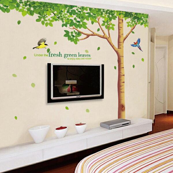 ウォールステッカー 鳥と木々 グリーン