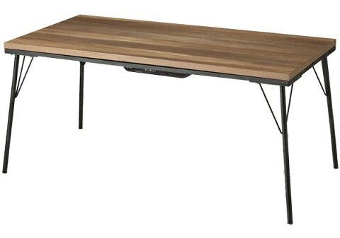 古材風アイアンこたつテーブル 120×60こたつフラットヒーターの写真