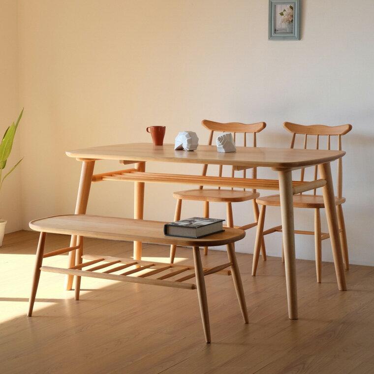 ISSEIKI (セット) ノルン ダイニングテーブル + チェアx2 + ベンチ 4点セット