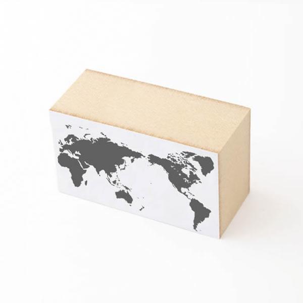 世界地図 ハンコ 水縞スタンプ