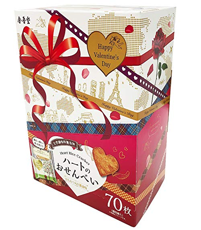 バレンタイン金吾堂 ハートのおせんべい BOX付き 大容量