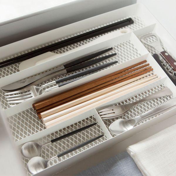 山崎実業 メッシュカトラリートレー タワー ホワイト 3315の写真