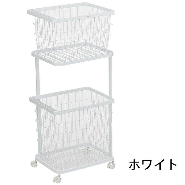 ランドリーワゴン + ランドリーバスケット タワー ホワイト 洗濯かご 2段 ラックの写真