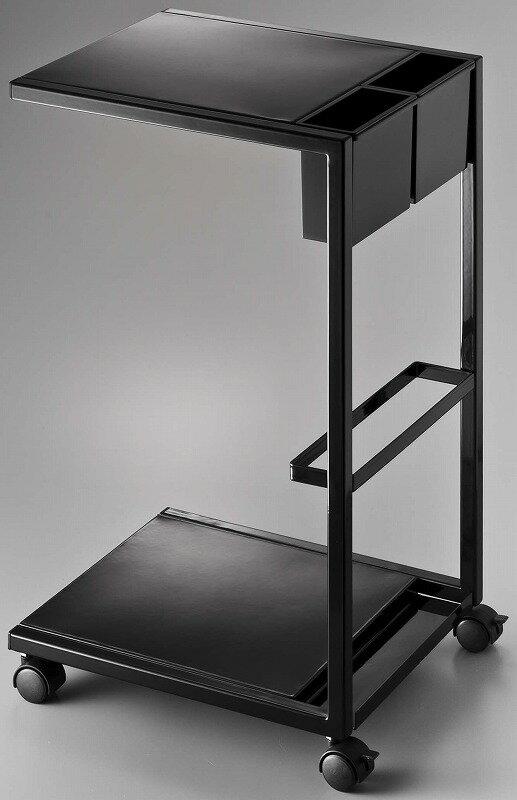 山崎実業 サイドテーブルワゴン タワー ブラックの写真
