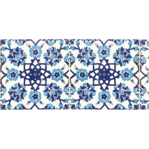 デコルファ インテリアマスキングテープ 100mm タイル ブルー M3700(1巻)の写真