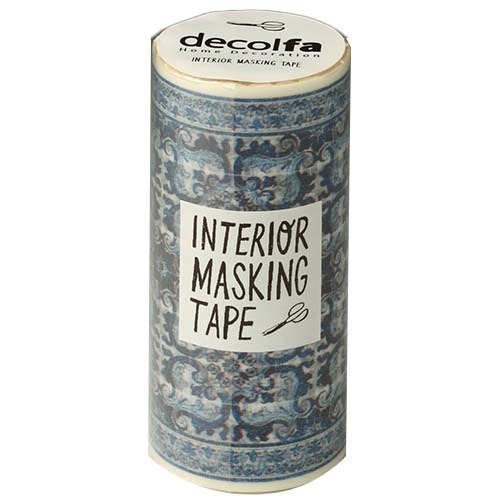 インテリアマスキングテープ 100mm タイル ブルーB M3713(1巻)