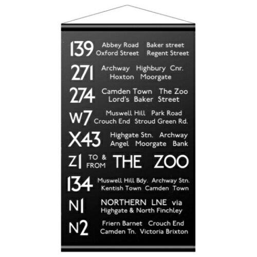タペストリー 壁掛け バスロールサイン 英字 カフェ クール レトロ モダン モノトーン ロンドン