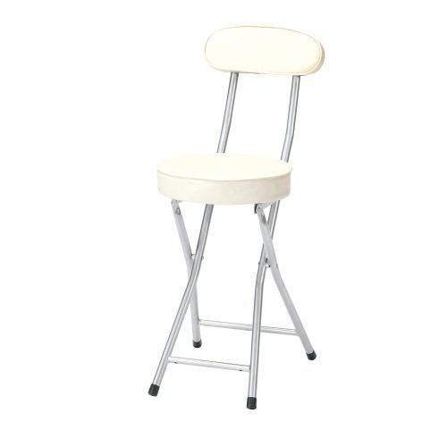(P-folding chair)合皮レザー折り畳み背付きチェア座高さ500mm(ホワイト)