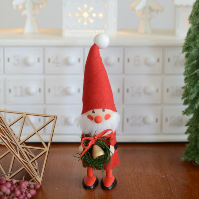 NORDIKA design ノルディカ・デザイン クリスマス 木製人形 (リースを持ったサンタ)