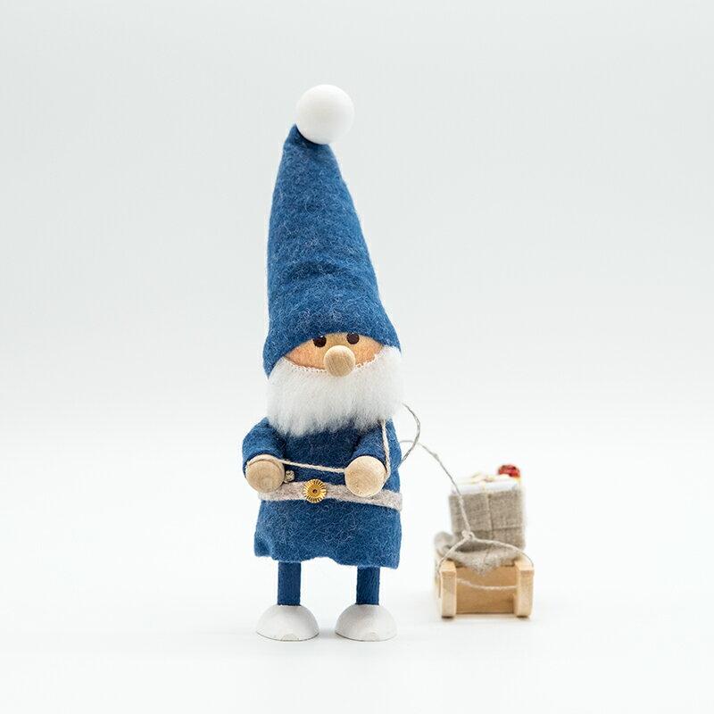NORDIKA nisse ノルディカ ニッセ クリスマス 木製人形そりをひいたサンタ/ブルー/NRD120084の写真