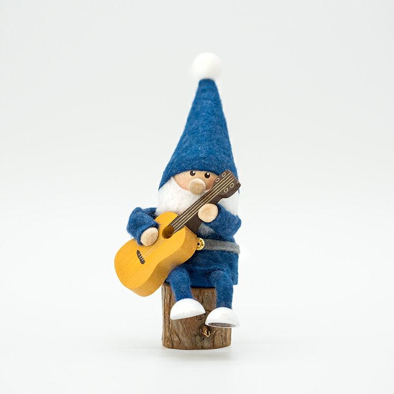 NORDIKA nisse ノルディカ ニッセ クリスマス 木製人形ギターを持ったサンタ/ブルー/NRD120090 北欧の写真