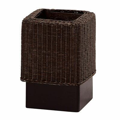 ウィッカー編み籐カバー付木製ダストボックスの写真