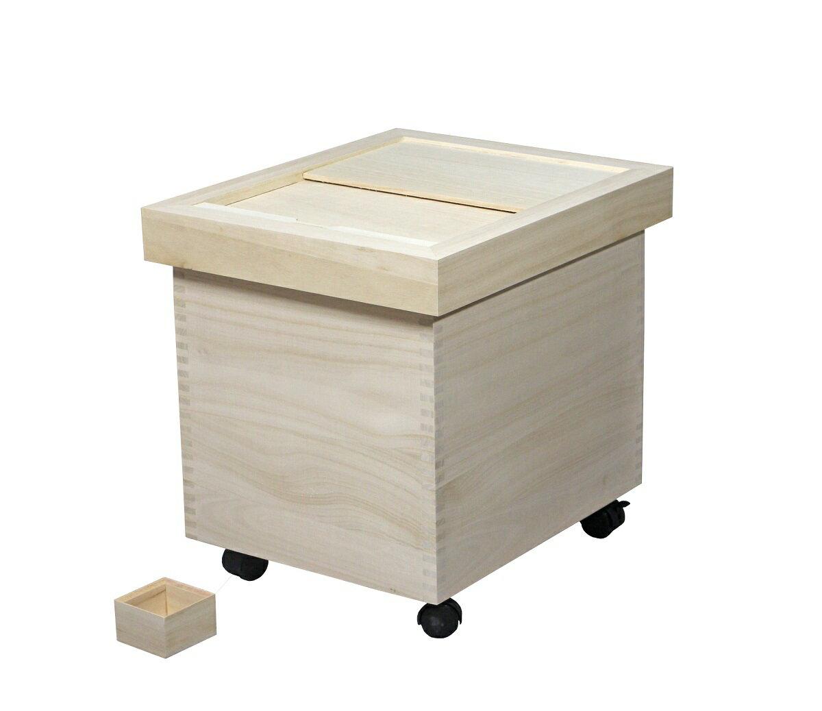 桐製 米びつ  用 桐製一合マス付 取外し式フタ キャスター付きの写真