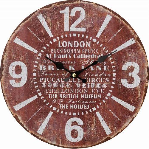不二貿易 アンティーク ウォール クロック 直径 28cm ブラウン アンティーク風 21926 ブラウン/28cm