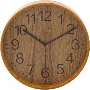 不二貿易 掛け時計 プライウッド 直径28cm ナチュラル 85366の写真