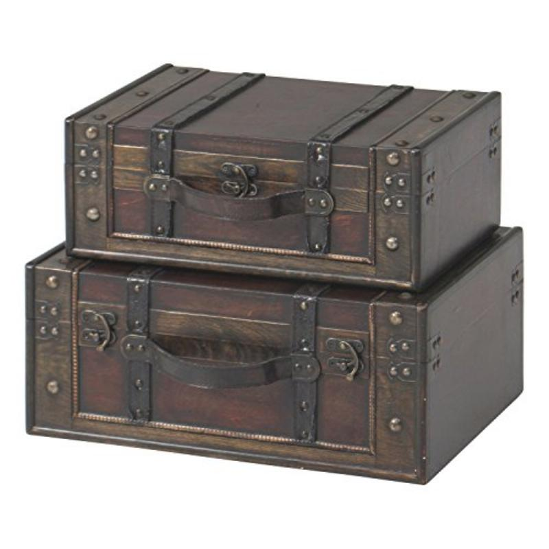 木製スーツケース型トランク ブラン[88450]
