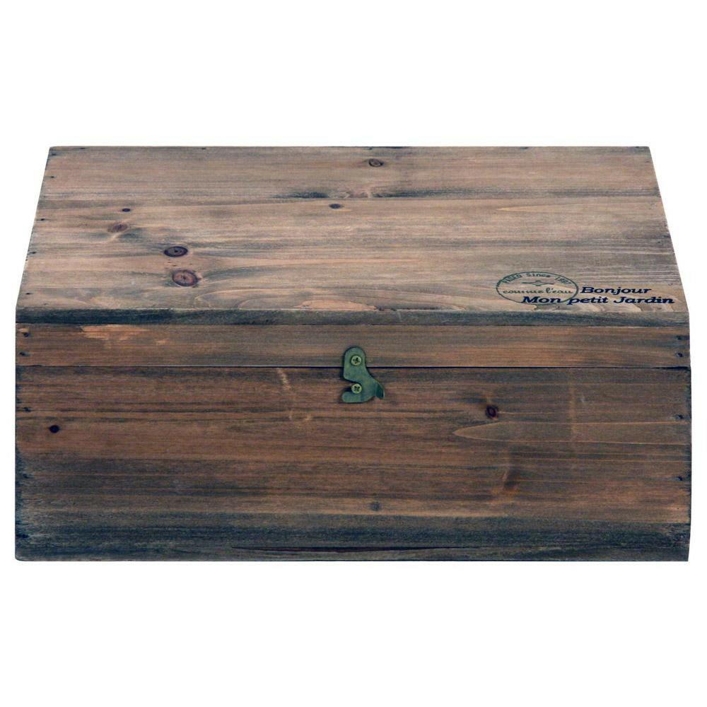 木製ボックス 蓋付moku ブラウン 91746の写真