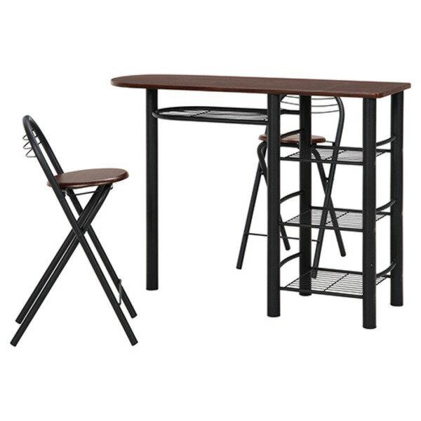 不二貿易 カウンターテーブル&チェアーセット BR/BK 95247の写真