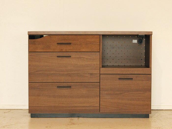 北欧モダンデザイン キッチンカウンター quatro クアトロ 120カウンター 収納家具の写真