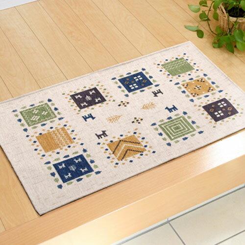 イケヒコ・コーポレーション 玄関マット 洗える ギャベ柄 ギャベル アイボリー 60×90cm 滑りにくい加工の写真