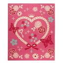 デスクカーペット 女の子 エハート柄 (キャリー ツー) ピンク 110×133cm