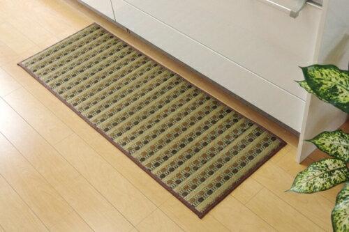 イケヒコ・コーポレーション キッチンマット 240 い草ドット柄 ブラウン ドロップ 約43×240cm 裏面:滑りにくい加工の写真