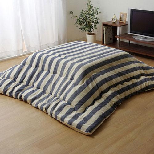 イケヒコ・コーポレーション インド綿 こたつ布団 長方形 ロカ ネイビー 約205×245cmの写真