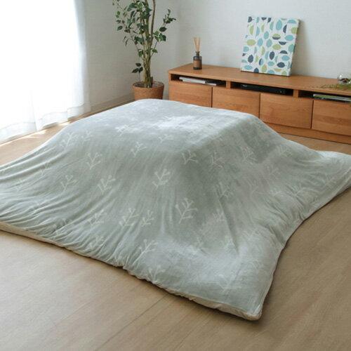 イケヒコ・コーポレーション 洗える こたつ布団カバー 正方形 小枝 グレー 約195×195cmの写真