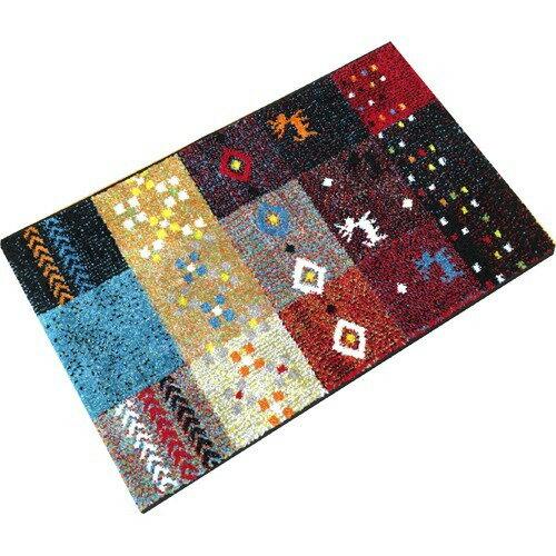 イケヒコ ウィルトン織り玄関マット ギャベ柄 フォリア レッド 約60*90cm(1枚入)の写真