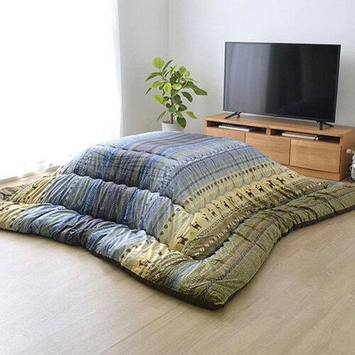 イケヒコ・コーポレーション ギャッベ柄 こたつ布団 長方形 ラディ グリーン 約205×245cmの写真