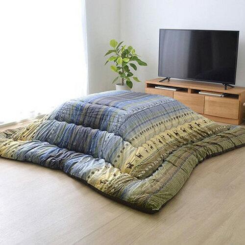 イケヒコ・コーポレーション ギャッベ柄 こたつ布団 長方形大 ラディ グリーン 約205×285cmの写真