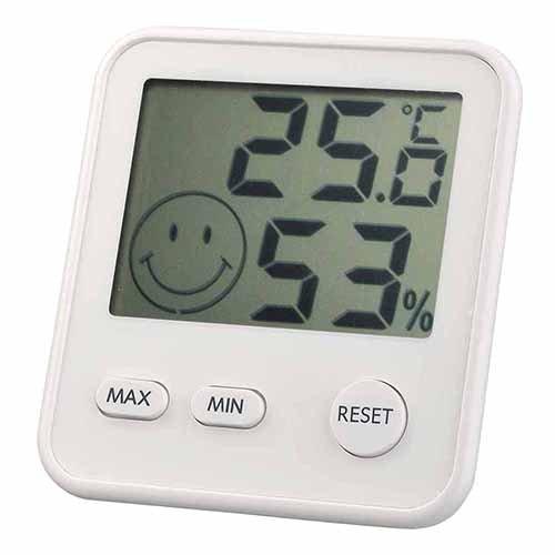 エンペックス おうちルーム デジタルミディ温湿度計 シルキーホワイト TD-8411の写真