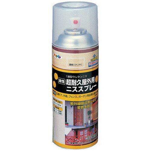 アサヒペン 油性超耐久屋外用ニススプレー 透明(クリヤ)(300ml)