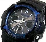 カシオ Gショック 海外モデル ソーラー電波アナデジ腕時計 ブラック×ブルー  AWG-M100A-1ADR