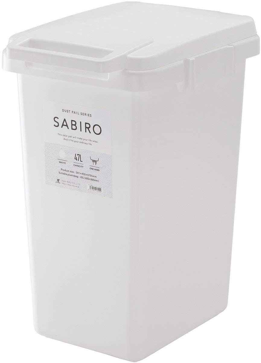 サビロ フタ付きゴミ箱 連結ワンハンドペール 45L ホワイト×ホワイト