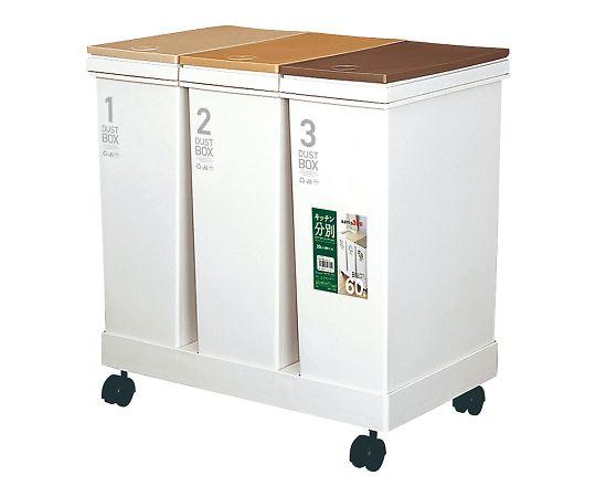 資源ゴミ横型3分別ワゴン(1セット)の写真