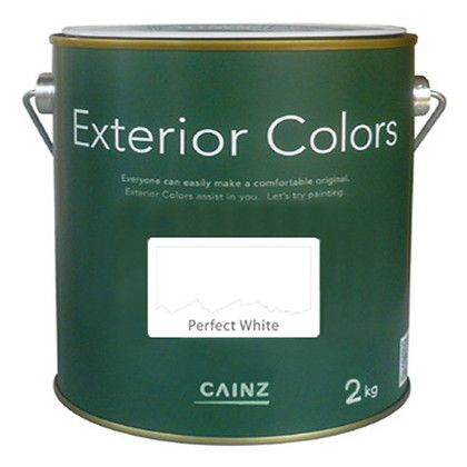 カインズ エクステリアカラーズ 水性塗料 屋外用 パーフェクトホワイト 2kg