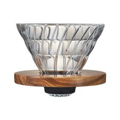 ハリオ V60 耐熱ガラス透過ドリッパー オリーブウッド VDG-02-OV(1コ入)