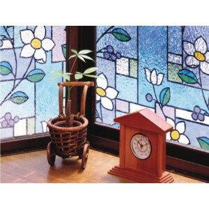 Meiwa gravure GLS-4657 窓飾りシート ステンドタイプ 46cm丈×90cm巻 パープル 5309bd