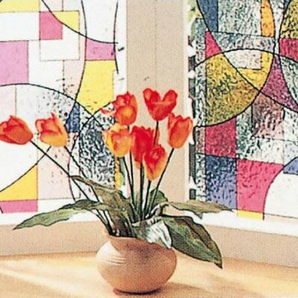 明和グラビア GLS-9252 窓飾りシート ステンドタイプ 92cm丈×90cm巻 レッド 5308bdの写真