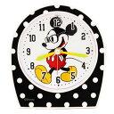 ミッキーマウス アラームクロック  ブラック ドット グラスミッキー ディズニー (OEM)