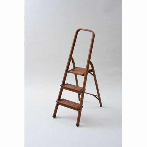 山善 踏み台 木目調 脚立 折りたたみ おしゃれ はしご ステップ踏み台 3段の写真