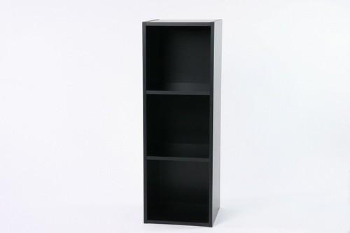 LP収納用ラック /バイナルボックス 木製 3段 VL-3 ブラック 黒
