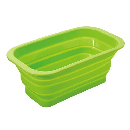 たためるシリコン洗い桶スリム グリーン(1コ入)の写真