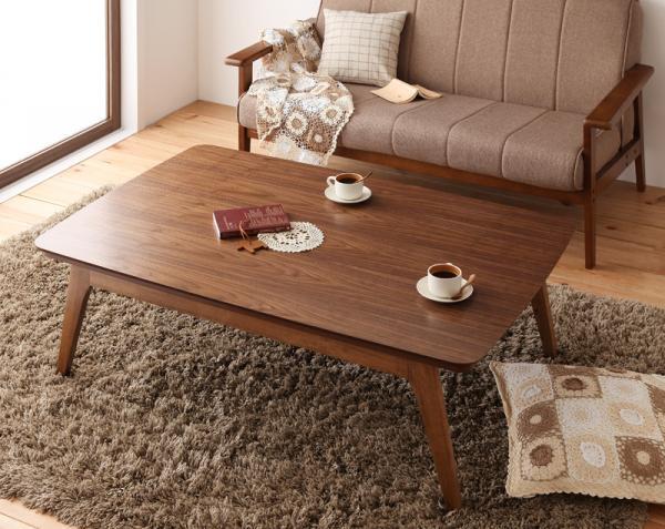 北欧デザインこたつテーブル lumikki ルミッキ  長方形   ウォールナットブラウンの写真