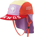 AQA/アクア KW4468A-5503 UV DRY フラップキャップ キッズ ピンク×パープル